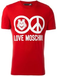 Love Moschino Logo Print T Shirt Red