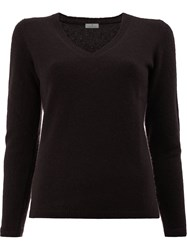 Maison Ullens V Neck Jumper Brown