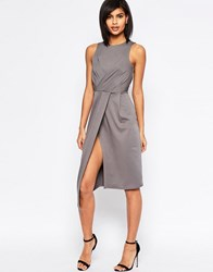 Asos Sleeveless Wrap Drape Midi Pencil Dress Grey