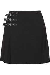 Mcq By Alexander Mcqueen Wrap Effect Pleated Wool Blend Mini Skirt Black