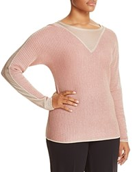 Marina Rinaldi Abisso Mixed Media Metallic Sweater Pink
