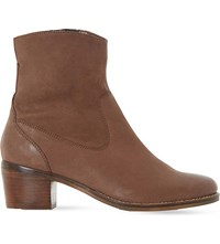 Dune Pocket Leather Ankle Boots Tan Leather