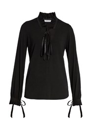 Givenchy Ruffle Trimmed Crepe Blouse Black