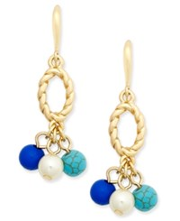 Charter Club Gold Tone Blue Bead Drop Earrings Only At Macy's