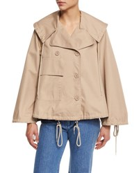 See By Chloe Boxy Cotton Twill Drawstring Jacket Straw