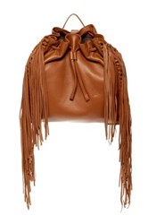 Vince Camuto Sunni Convertible Leather Fringe Backpack Brown