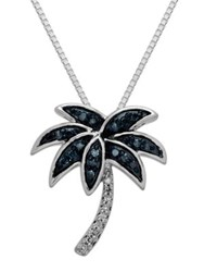 Lord And Taylor Sterling Silver Green White Diamond Palm Tree Pendant Necklace