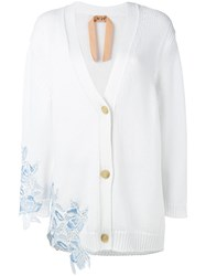 N 21 No21 Lace Trimmed Cardigan White