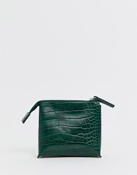French Connection Lea Croc Zip Purse Green