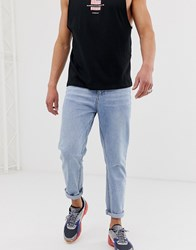 Religion Cropped Tapered Fit Jean In Rigid Denim Blue