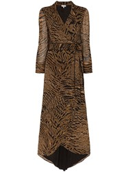 Ganni Tiger Stripe Wrap Dress Brown