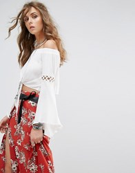 Kiss The Sky Festival Off Shoulder Top With Tie Front And Gold Eyelet Inserts White