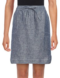 Lord And Taylor Dolphin Hem Linen Skirt Blue