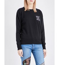 Christopher Kane Embroidered Wool And Cashmere Blend Jumper Black Solid