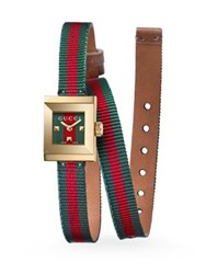 Gucci G Frame Wrap Strap Watch Brown Green Red