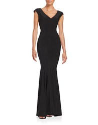 Betsy And Adam Knit Trumpet Gown Black
