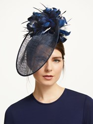 Bundle Maclaren Millinery Gina Feather Flower Occasion Hat Navy Ivory