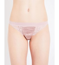 Else Lily Stretch Lace And Silk Blend Thong Rose