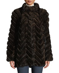 Belle Fare Swing Cut Chevron Mink And Rabbit Fur Coat Brown