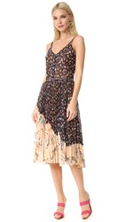 Jason Wu Print Floral Sleeveless Dress Black Multi