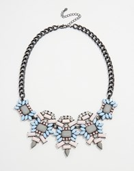 Oasis Statement Necklace Pink Gunmetal Grey