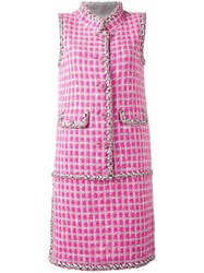 Chanel Vintage Tweed Sleeveless Dress Pink Purple