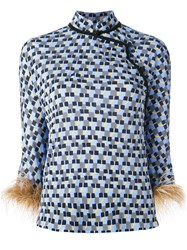 Prada Tunic Style Top With Ostrich Feather Sleeve Cuffs Blue