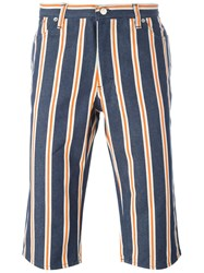 Walter Van Beirendonck Vintage Striped Denim Shorts Blue