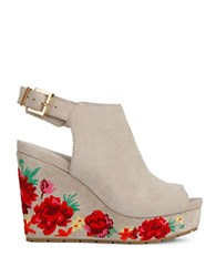 Kenneth Cole Olani Floral Printed Suede Wedge Sandals Taupe