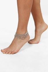 Boohoo Boutique Chain And Bell Embellished Anklet Silver