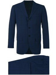 Kiton Two Piece Check Suit Men Cupro Wool 50 Blue