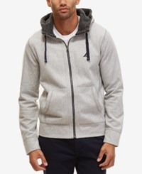 Nautica Men's Big And Tall Fleece Lined Hoodie Grey Heather