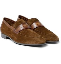 Berluti Lorenzo Leather Trimmed Suede Loafers Brown