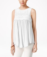 Eyeshadow Juniors' Sleeveless High Low Blouse White