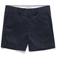 Acne Studios Seymour Satin Cotton Blend Chino Shorts Navy