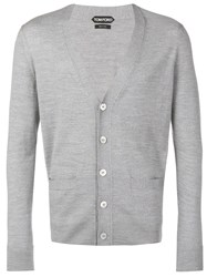 Tom Ford Long Sleeve Fitted Cardigan Grey