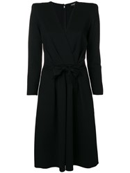 Emporio Armani Belted Tailored Midi Dress Black
