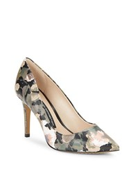 French Connection Rosalie Floral Leather Pumps Olive Green
