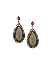 Bavna Labradorite Teardrop Earrings W Tourmaline