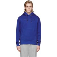 Helmut Lang Blue Raised Embroidery Hoodie