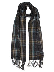 Dents Women S Woven Checked Scarf Charcoal
