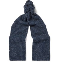 Inis Meain Ribbed Melange Merino Wool And Cashmere Blend Scarf Storm Blue