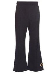 Ellery Bulgaria Eyelet Detailed Flared Cropped Trousers Navy