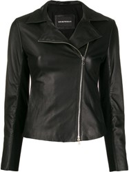 Emporio Armani Leather Zip Up Jacket Black
