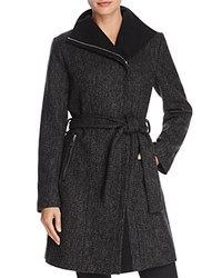T Tahari Eva Asymmetric Coat Black