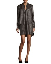 Halston Long Sleeve Leather Shirtdress Chocolate
