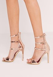 Missguided Buckle Three Strap Barely There Heeled Sandals Rose Gold Red