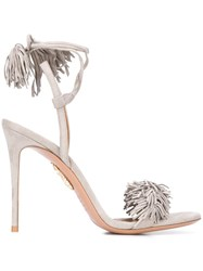 Aquazzura Fringe Tassel Sandals Grey