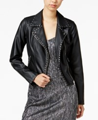 Bar Iii Studded Faux Leather Moto Jacket Only At Macy's Deep Black
