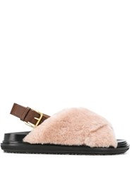 Marni Fussbet Fur Sandals Neutrals